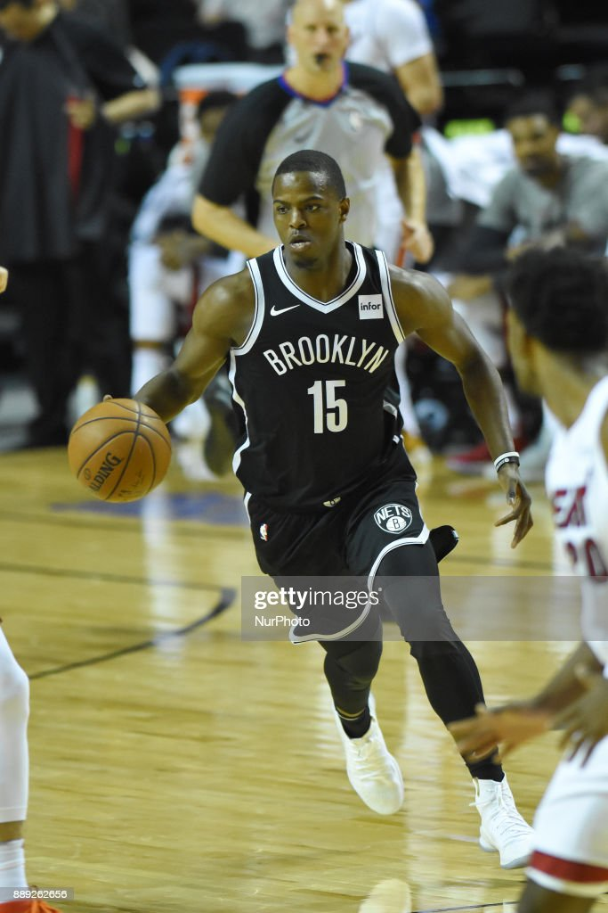 the player Isaiah Whitehead of the team Brooklyn Nets is seen in action during the match of NBA between of Miami Heat and Brooklyn Nets on December 09, 2017 in México City, Mexico