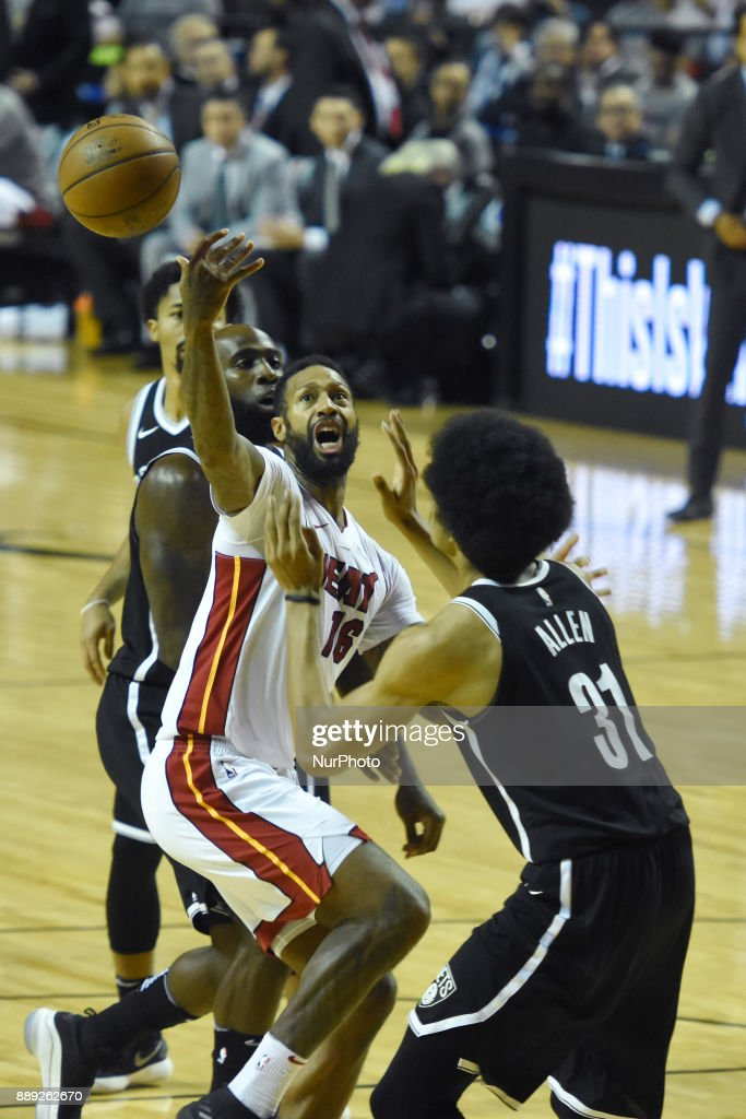 the player James Johnson of the team Miami Heat is seen in action during the match of NBA between of Miami Heat and Brooklyn Nets on December 09, 2017 in México City, Mexico