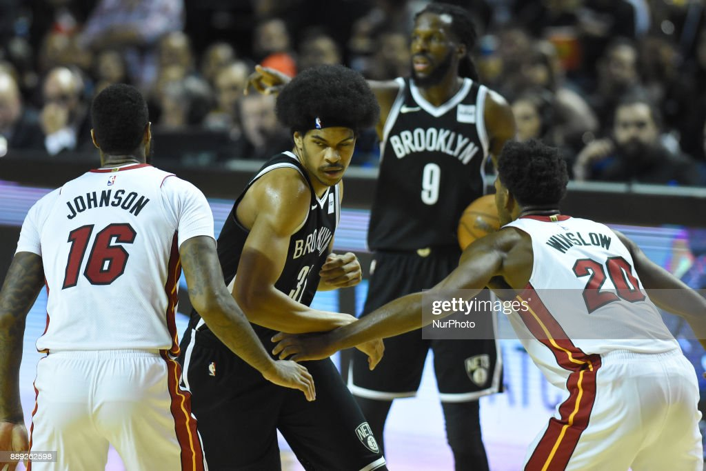 the player Jarrett Allen of the team Brooklyn Nets is seen in action during the match of NBA between of Miami Heat and Brooklyn Nets on December 09, 2017 in México City, Mexico