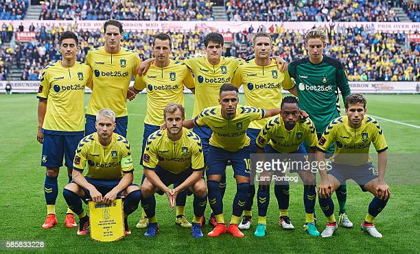 The player of Brondby IF pose for a group picture prior to the UEFA Europa League qualifier match between Brondby IF and Hertha Berlin at Brondby...