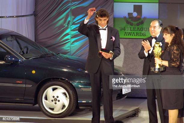 The Player of the Year Pereira of Verdy Kawasaki is seen during the'94 JLeague Awards on December 5 1994 in Tokyo Japan