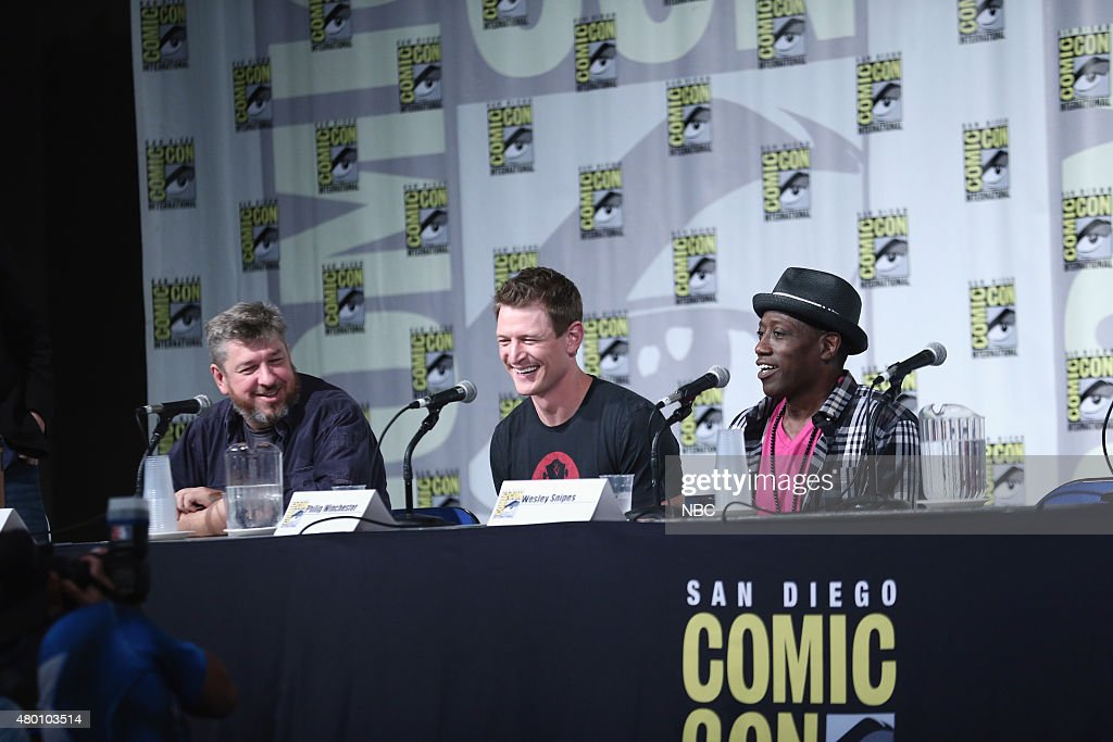 SAN DIEGO 2015 -- 'The Player' Panel & Red Carpet -- Pictured: (l-r) John Rogers, Executive Producer, Writer; Philip Winchester, Wesley Snipes, Thursday, July 9, 2015, from San Diego Convention Center, San Diego, Calif. --