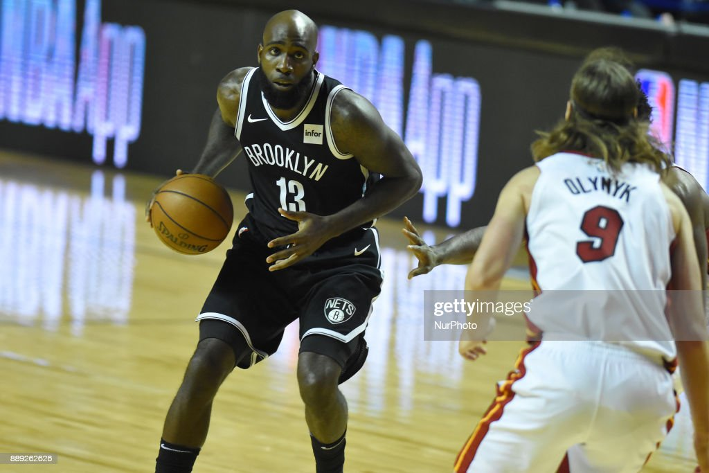 the player Quincy Acy of the team Brooklyn Nets is seen in action during the match of NBA between of Miami Heat and Brooklyn Nets on December 09, 2017 in México City, Mexico