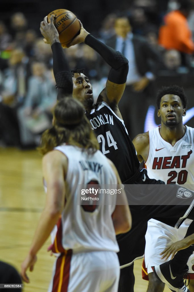 the player Rondae Hollis-Jefferson of the team Brooklyn Nets is seen in action during the match of NBA between of Miami Heat and Brooklyn Nets on December 09, 2017 in México City, Mexico