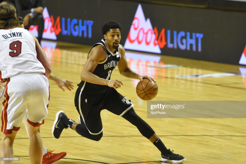 the player Spencer Dinwiddie of the team Brooklyn Nets is seen in action during the match of NBA between of Miami Heat and Brooklyn Nets on December 09, 2017 in México City, Mexico