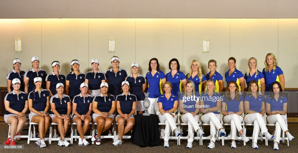 The players and Capatins of Tean USA and Team Europe poses together for a picture during the photocall prior to the start of The Solheim Cup at the Des Moines Country Club on August 15, 2017 in West Des Moines, Iowa.