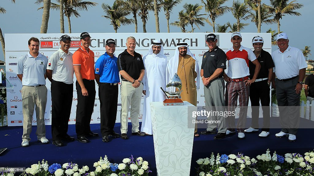 The players and officials before the Challenge match at The Jebel Ali Hotel and Golf Resort as a preview for the 2013 Dubai Desert Classic on January 29, 2013 in Dubai, United Arab Emirates.