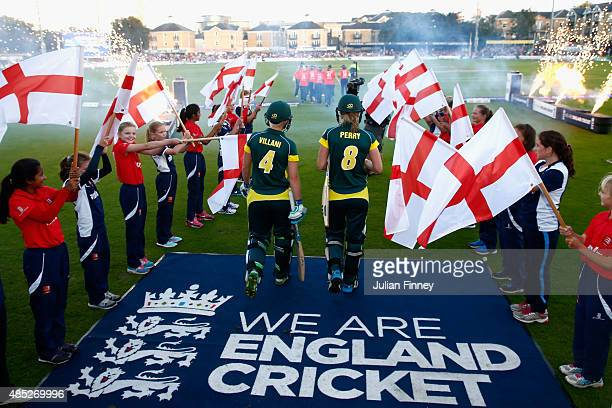 The players enter the pitch during the 1st Natwest T20 of the Women's Ashes Series between England and Australia Women at The Essex County Ground on...