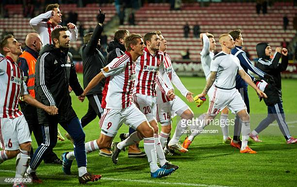 The players from AaB Aalborg celebrating after the UEFA Europa Liga match between AaB Aalborg and Steaua Bukarest at Nordjyske Arena on November 27...