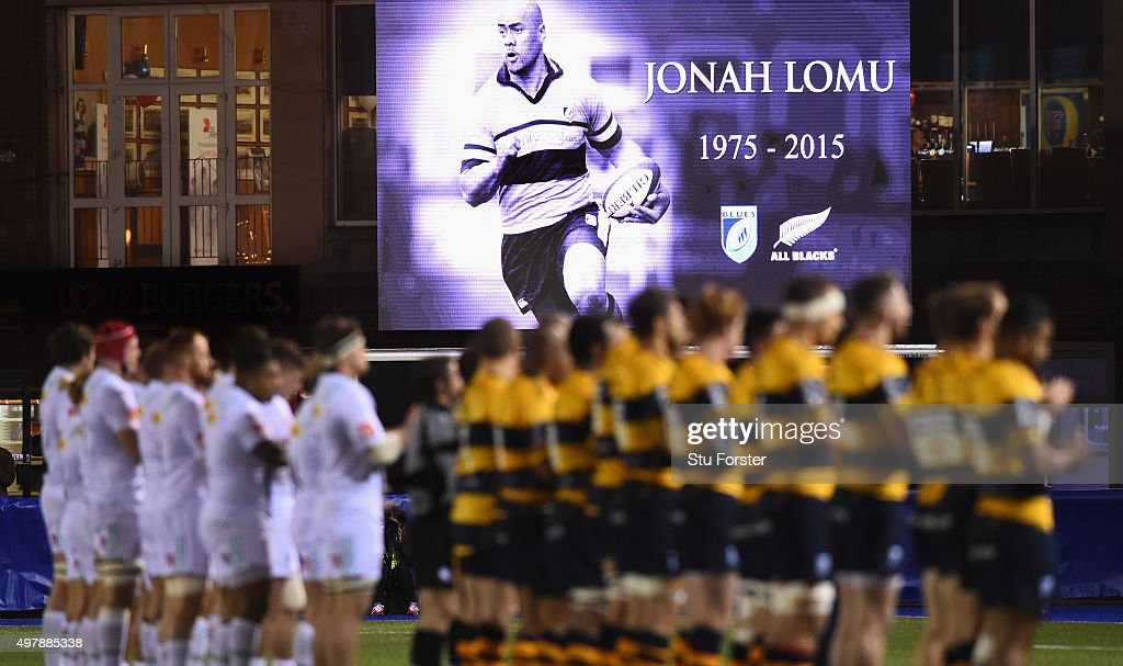The players from both teams participate in a minutes applause for former All Blacks and Cardiff player Jonah Lomu before the European Rugby Challenge...