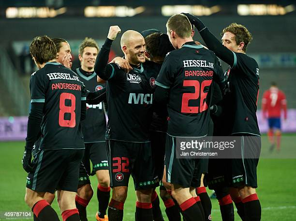 The players from FC Midtjylland celebrating after the 10 goal from Jim Larsen of FC Midtjylland during the Danish Superliga match between FC...
