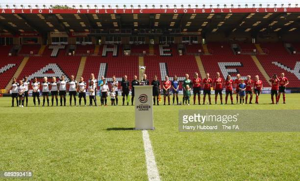 The players line up for the FA Women's Premier League Playoff Final between Tottenham Hotspur Ladies and Blackburn Rovers Ladies at The Valley on May...