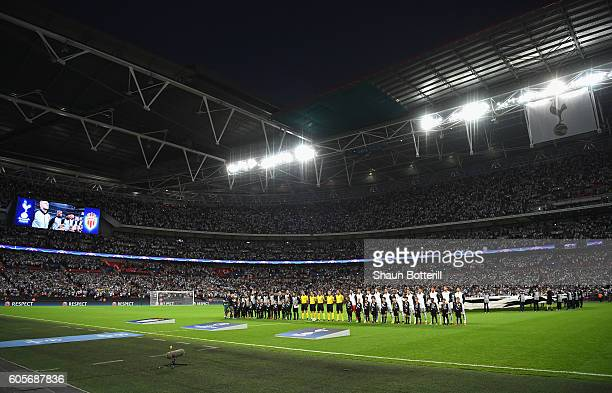 The players line up prior to the UEFA Champions League match between Tottenham Hotspur FC and AS Monaco FC at Wembley Stadium on September 14 2016 in...