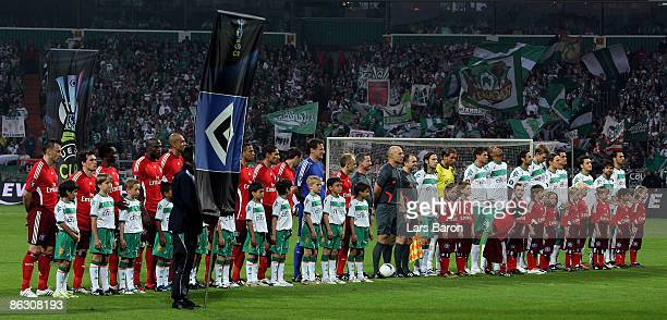 The players line up prior to the UEFA Cup Semi Final first leg match between SV Werder Bremen and Hamburger SV at the Weser stadium on April 30 2009...