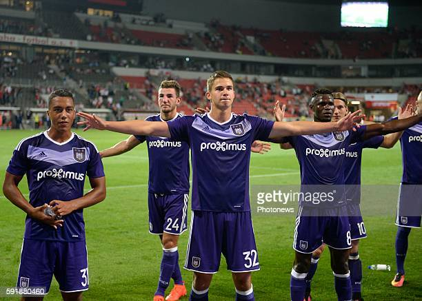 the players oaf RSCA celebrate the win Leander Dendoncker midfielder of RSC Anderlecht pictured during europa league match play off between RSC...