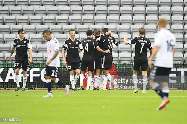 The players of AaB Aalborg celebrating the 13 goal from Rasmus Jonsson during the Danish Alka Superliga match between AGF Arhus and AaB Aalborg at...