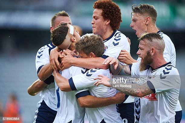 The players of AGF Aarhus celebrate after the 21 goal scored by Niklas Backman during the Danish Alka Superliga match between AGF Aarhus and Viborg...