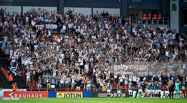 The players of AGF Aarhus celebrate with the fans after the Danish Alka Superliga match between FC Copenhagen and AGF Aarhus at Telia Parken Stadium...