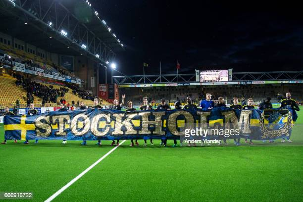 The players of AIK celebrates with fans after the Allsvenskan match between IF Elfsborg and AIK at Boras Arena on April 10 2017 in Boras Sweden
