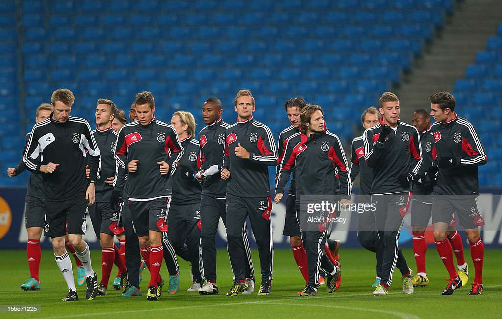 The players of Ajax Amsterdam warm up during a training session at Etihad Stadium on November 5, 2012 in Manchester, England.