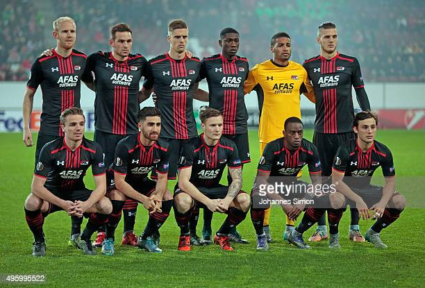 The players of Alkmaar pose for a team picture prior to the UEFA Europa League group L football match FC Ausburg vs AZ Alkmaar at WWK Arena on...