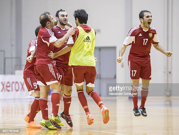 The players of Armenia celebrate the victory during the UEFA Futsal European Championship Qualifying match between Armenia and Germany at Zemgales...