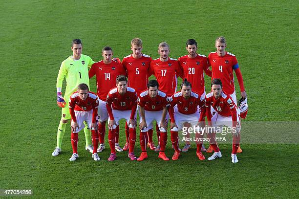 The players of Austria line up for a group photograph prior to the FIFA U20 World Cup round of 16 match between Austria and Uzbekistan at Northland...