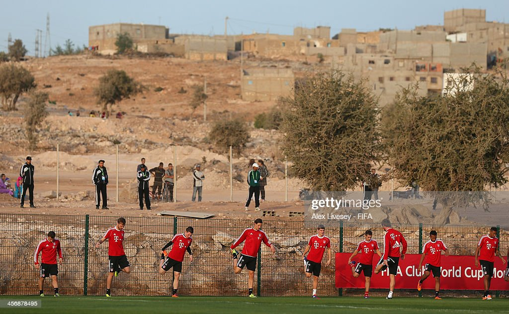The players of Bayern Muenchen warm up during a training session at the Agadir Stadium on December 15, 2013 in Agadir, Morocco.