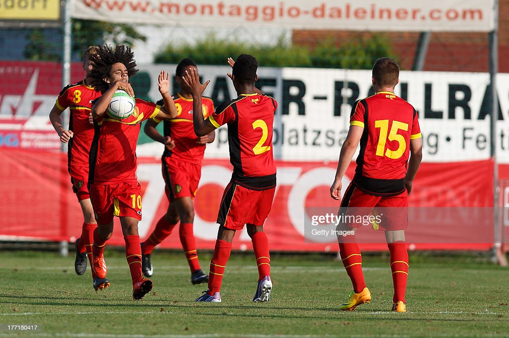 The Players of Belgium celebrate a goal during the U17 Toto-Cup match between Germany and Belgium on August 21, 2013 in Gleisdorf, Austria.
