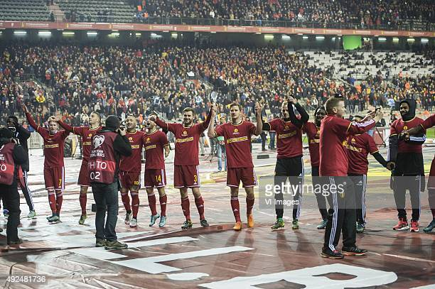 the players of Belgium celebrate qualification for European France 2016 and being number one at the world ranking during the UEFA EURO 2016 group B...