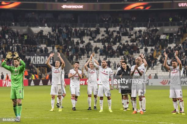 the players of Besiktas celebrate the victory with the supportersduring the UEFA Europa League round of 16 match between Besiktas JK and Hapoel Beer...