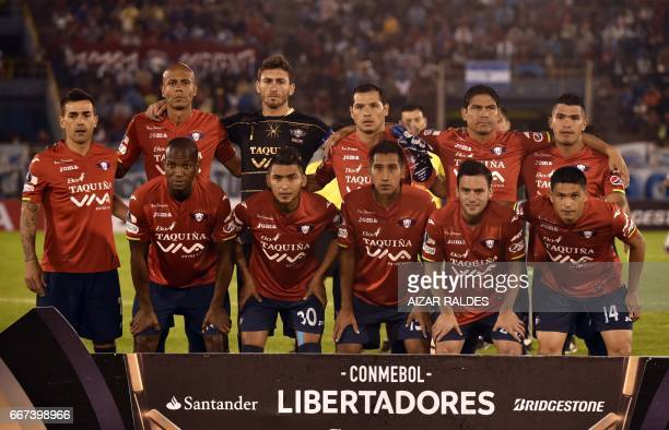 The players of Bolivia's Wilstermann pose before their Copa Libertadores football match against Atletico Tucuman of Argentina at Felix Capriles...