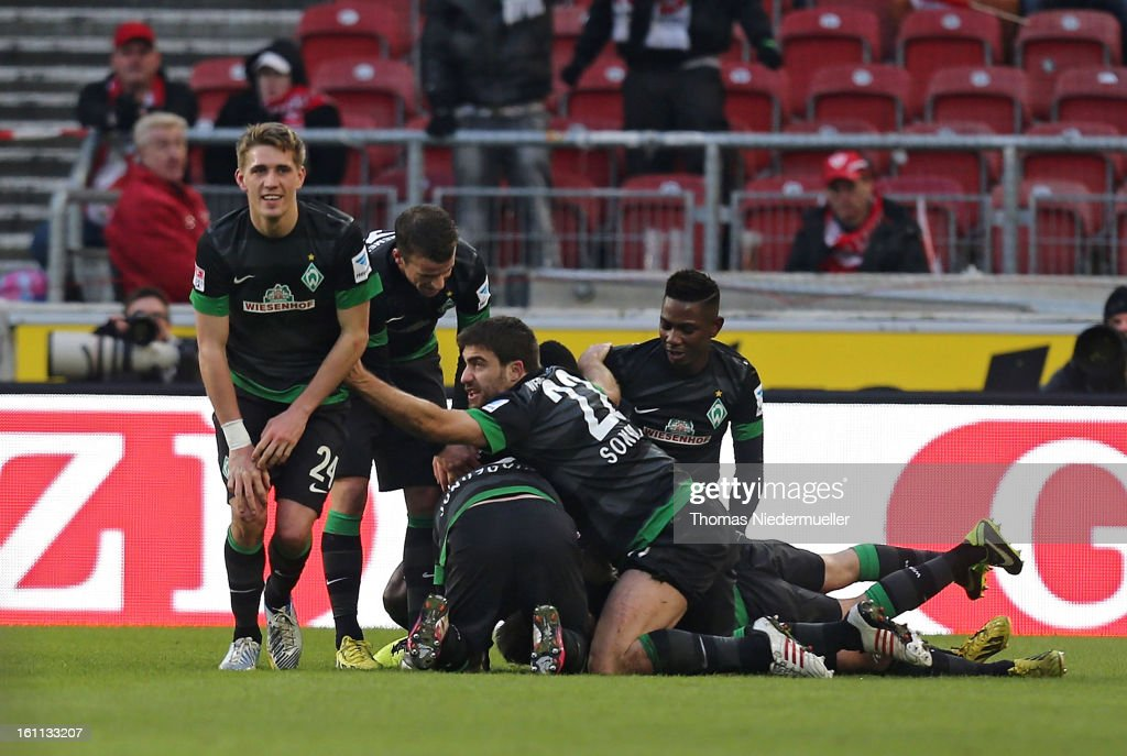 The players of Bremen celebrate during the Bundesliga match between VfB Stuttgart and Werder Bremen at Mercedes-Benz Arena on February 9, 2013 in Stuttgart, Germany.