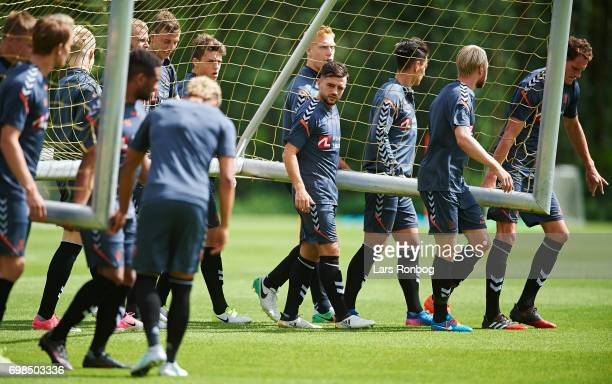 The players of Brondby IF carrying a football goal during the Brondby IF training session at Brondby Stadion on June 20 2017 in Brondby Denmark