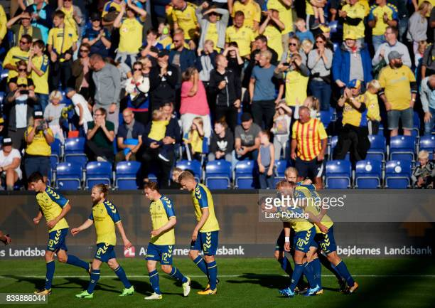 The players of Brondby IF celebrate after the 20 goal scored by Jan Kliment during the Danish Alka Superliga match between Brondby IF and AC Horsens...