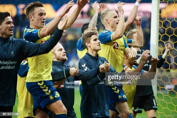 The players of Brondby IF celebrate after the Danish Alka Superliga match between Brondby IF and Silkeborg IF at Brondby Stadion on October 15 2017...
