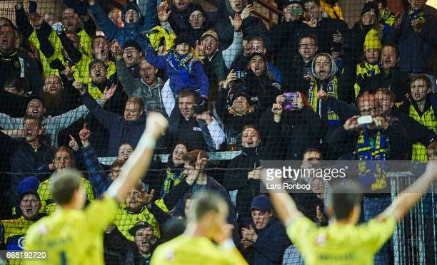 The players of Brondby IF celebrate with the fans after the Danish Cup DBU Pokalen quarterfinal match between Randers FC and Brondby IF at BioNutria...
