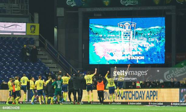 The players of Brondby IF celebrates after the Danish Cup DBU Pokalen match between BK Marienlyst and Brondby IF at Brondby Stadion on March 08 2017...
