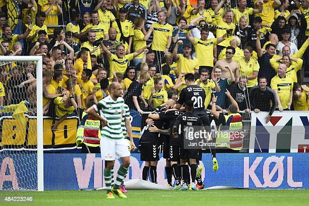 The players of Brondby IF celebrating the 03 goal from Johan Elmander during the Danish Alka Superliga match between Viborg FF and Brondby IF at...