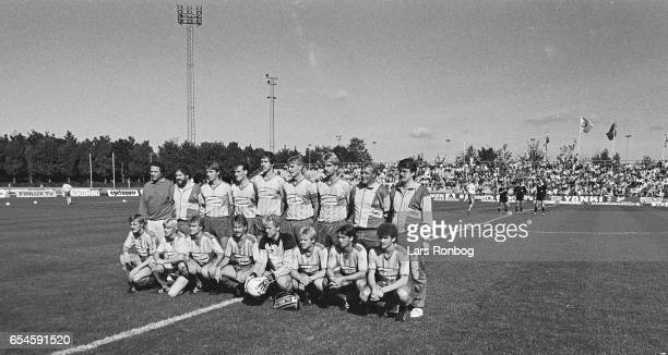The players of Brondby IF pose for a group photo prior to the Danish 1 division match between Brondby IF and Kastrup Boldklub at Brondby Stadion on...