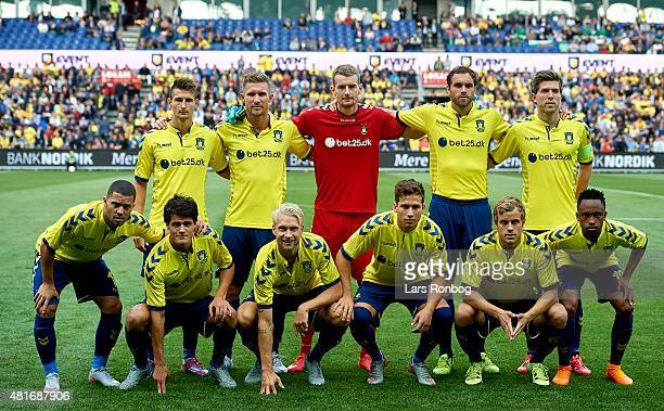 The players of Brondby IF pose for a group photo prior to the UEFA Europa League Qualification match between Brondby IF and PFC Beroe Stara Zagora at...