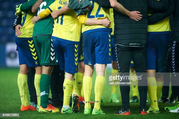 The players of Brondby IF stand together after the Danish Cup DBU Pokalen match between BK Marienlyst and Brondby IF at Brondby Stadion on March 08...