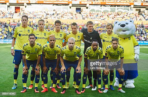 The players of Brondby poses for a group photo prior to the UEFA Europa League playoff 1st leg match between Brondby IF and Panathinaikos at Brondby...
