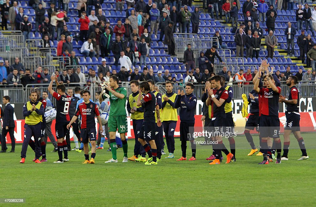 the players of Cagliari after the Serie A match between at Stadio Sant'Elia on April 19 2015 in Cagliari Italy