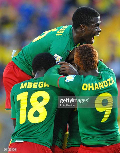 The players of Cameroon celebrate a scored goal during a match for the group B between Uruguay and Cameroon as part of the FIFA U20 World Cup 2011...