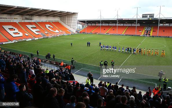 The players of Carlisle United and Yeovil Town walk out at Bloomfield Road prior to The Emirates FA Cup Third Round match between Carlisle United and...