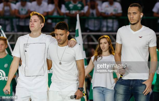 The players of Chapecoense survivors of the accident Neto Jakson Follmann Alan Ruschel during the Finals CONMEBOL South America Super Cup match...