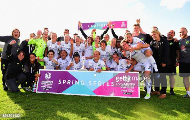 The players of Chelsea Ladies FC celebrate winning the WSL Spring Series during the WSL 1 match between Birmingham City Ladies and Chelsea Ladies FC...