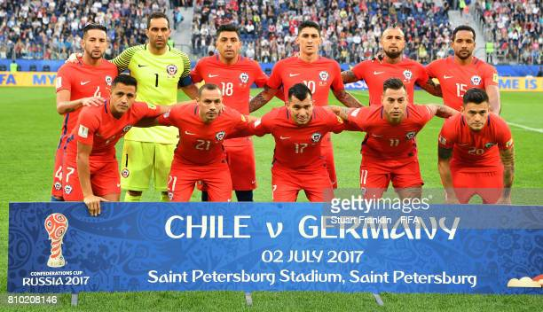 The players of Chile line up during the FIFA Confederations Cup Russia 2017 Final match between Chile and Germany at Saint Petersburg Stadium on July...