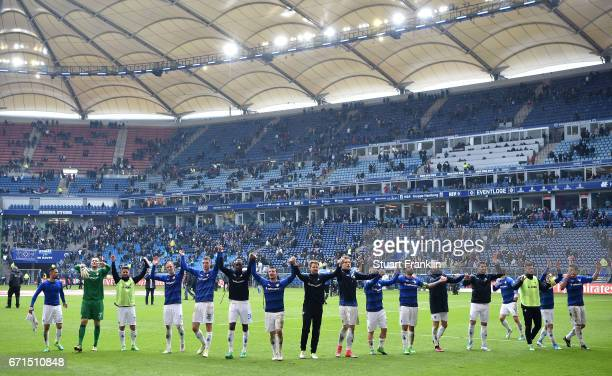 The players of Darmstadt celebrate after the Bundesliga match between Hamburger SV and SV Darmstadt 98 at Volksparkstadion on April 22 2017 in...